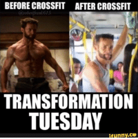 Crossfit: BEFORE CROSSFIT  @robertfrank615  AFTER CROSSFIT  47  TRANSFORMATION  TUESDAY  ifunny.ce