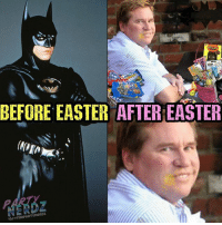 Batman, Candy, and Easter: BEFORE EASTER AFTEREASTER  IG/OTHePARTYneRDz Poor Val... What happened?? Couldn't stay away from those Cadbury Eggs huh? 😟😟 easter candy fitnerd valkilmer eastercandy batman lol cheatday darkknight brucewayne cosplay 90s