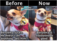 Football, Memes, and Real Madrid: Before  Fb.com/  Troll Football  LILY LU  Benzema Sucks  He doesnt do  anything. Sell Him!!  Now  OCCER2  Benzema is  good Real Madrid fans...  (Tag them :D )