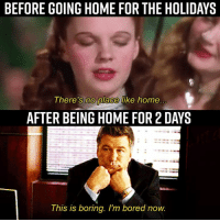 Bored, Memes, and Home for the Holidays: BEFORE GOING HOME FOR THE HOLIDAYS  There's no pace like home  AFTER BEING HOME FOR 2 DAYS  This is boring. bored now.