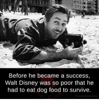Disney, Food, and Memes: Before he became a success  Walt Disney was so poor that he  had to eat dog food to survive.  fb.com/factsweird