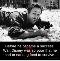 Disney, Food, and Memes: Before he became a success,  Walt Disney was so poor that he  had to eat dog food to survive.  fb.com/facts weird