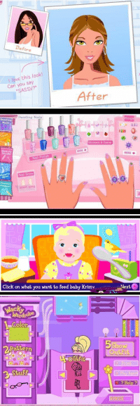 Click, Funny, and Internet: Before  love this look!  Can you say  After   Dazzling Nails  Nail Polish  Nail Sizes  short long  Stickers & Gems  MORE   Click on what you want to Feed baby Krissy  Next   Wardro  Color  Pattern  Outfit  Show  Out Fit  Print  Help  REPRISE What the internet was truly and originally for.. https://t.co/sPcnpjAM8G