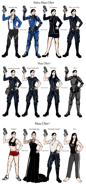 commander-sarahs-art:  Heres Miranda Shepard's closet up until the end of Mass Effect 1! now just to do… ME2, ME3(which is easily the most outfit abundant) and Post War Sheps! She is my 6 foot tall buff soldier wife and I love her.: Before Mass Effect  Officer on the Tokyo  Just before Blitz  N7 Graduation  Skylian Blitz  Hashtag-SarahsArt  Hashtag-SarahsArt  Hashtag-SarahsArt   Mass Effect  Armor  Hair Down  Aboard the Normandy  MAN  Boarding the Normandy  Hashtag-SarahsArt  Hashtag-Sarah&Art  Hashtag-SarahsArt  mIs   Mass Effect  pJ's  Workout  Normandy Casual 2  Post Battle Cala  Hashtag-SarahsArt  Hashtag-SarahsArt  Hashtag-SarahsArt commander-sarahs-art:  Heres Miranda Shepard's closet up until the end of Mass Effect 1! now just to do… ME2, ME3(which is easily the most outfit abundant) and Post War Sheps! She is my 6 foot tall buff soldier wife and I love her.