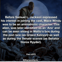 Mace Windu, Memes, and Samuel L. Jackson: Before Samuel L. Jackson expressed  his interest in joining the cast, Mace Windu  was to be an animatronic character. This  alien, was later identified as an 'Anx' and  can be seen sitting in Watto's box during  the pod race (as Graxol Kelvyyn) as well  as during the Senate scenes (as Senator  Horox Ryyder).  Fact #373  @Starwarsfacts Glad it ended up being Samuel L. Jackson who played Mace. -