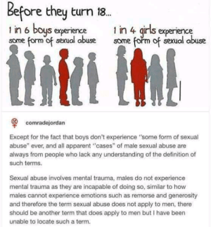 "Girls, Definition, and Experience: Before they turn 18.  1 in 6 boys experience  some form of sexual abuse  1 in 4 girls experience  some form of sexual abuse  comradejordan  Except for the fact that boys don't experience ""some form of sexual  abuse"" ever, and all apparent ""cases"" of male sexual abuse are  always from people who lack any understanding of the definition of  such terms.  Sexual abuse involves mental trauma, males do not experience  mental trauma as they are incapable of doing so, similar to how  males cannot experience emotions such as remorse and generosity  and therefore the term sexual abuse does not apply to men, there  should be another term that does apply to men but I have been  unable to locate such a term. I don't have words for how disgusting this is."