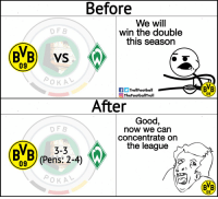 Memes, Good, and The League: Before  We will  win the double  this season  DF B  BVB) VS  09  TrollFootball  TheFootballTroll  BVB  09  After  Good,  now we can  concentrate orn  the league  DF B  3-3  BVB) (Pens:2-4)  BB  09 Borussia Dortmund fans 🙄 https://t.co/gXK5UAemOm