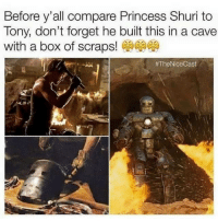 Iron Man, Princess, and Box: Before y'all compare Princess Shuri to  Tony, don't forget he built this in a cave  with a box of scraps!  #TheNiceCast . <p>He is Iron Man.</p>