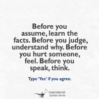 Memes, 🤖, and Genie: Before you  assume, learn the  facts. Before you judge,  understand why. Before  you hurt someone,  feel. Before you  speak, think.  Type 'Yes' if you agree.  Inspirational  Quotes Genie <3 Inspirational Quotes Genie  Before you assume...