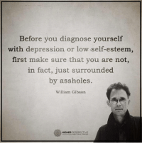 Follow our new page @alaskanhashqueen: Before you diagnose yourself  with depression or low self-esteem,  first make sure that you are not,  in fact, just surrounded  by assholes.  William Gibson  HIGHER  PERSPECTIVE Follow our new page @alaskanhashqueen