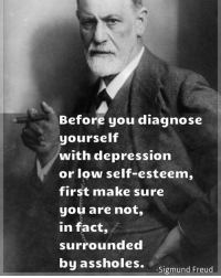 ☝☝: Before you diagnose  yourself  with depression  or low self-esteem,  first make sure  you are not,  In fact,  surrounded  by assholes.  -Sigmund Freud ☝☝