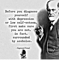 pretty sure I'm surrounded -: Before you diagnose  yourself  with depression.  or low self-esteem,  first make sure  you are not,  in fact,  surrounded  by assholes.  Sigmund Freud  RTFU pretty sure I'm surrounded -