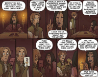 """Tarot Troubles tvtropes.org/Main/TarotTroubles Credit: oglaf.com/cartomancy *NSFW*: BEFORE YOU GO...  PICK A CARD FROM  THE TAROT DECK.  WHAT CAN IT HURT?  AREN'T THERE  A USUALLY, BUT IN A  PORTENTOUS MOMENT  SO I PICK A  YOU'VE  YOU DON'T WANT  CARD TO SEE  GRASPED  THREE OF CUPS IF I GET SEX  THE ESSENCE  OR  OF THE  SOMETHING  OR DEATH?  PORTENTOUS  MORE CARDS  THAN THAT IN  A TAROT  DECK  MOMENTS  TAROT DECK  I GOT RID OF  EVERYTHING EXCEPT  DEATH AND  THE LOVERS'  HEY, THE  FUCK!  IT'S REALLY  PORTENTOUS  HOW DID.  THAT LITERAL?  THAT CARD MEANS  MOMENTS DECK HAS  OKAY, YOU  BEEN GETTING ME  HAVE TO TAKE  """"YOU WILL GET  LAID FOR YEARS  THREE CUPS  THREE CUPS  TAKE YOUR  GODDAMN CUPS  AND GO Tarot Troubles tvtropes.org/Main/TarotTroubles Credit: oglaf.com/cartomancy *NSFW*"""