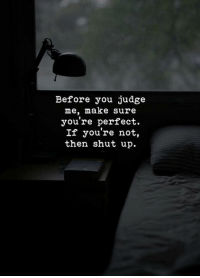 youre perfect: Before you judge  me, make sure  you're perfect.  If you're not,  then shut up.