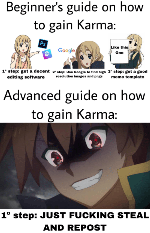 Fucking, Google, and Meme: Beginner's guide on how  to gain Karma:  Ps  Like this  Google  One  1° step: get a decent 2° step: Use Google to find high 3° step: get a good  editing software  resolution images and pngs  meme template  Advanced guide on how  to gain Karma:  1° step: JUST FUCKING STEAL  AND REPOST Is that true?
