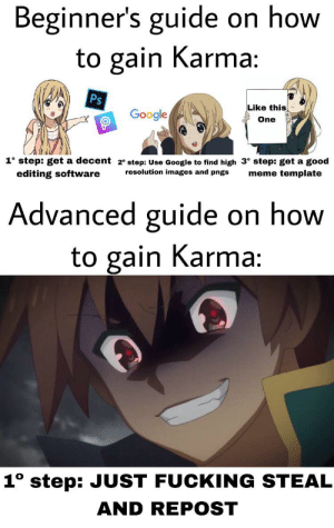 Fucking, Google, and Meme: Beginner's guide on how  to gain Karma:  Ps  Like this  Google  One  1° step: get a decent 2° step: Use Google to find high 3° step: get a good  meme template  resolution images and pngs  editing software  Advanced guide on how  to gain Karma:  1° step: JUST FUCKING STEAL  AND REPOST Is EEetrA fUnsY CAuse ItS a rEeePosT
