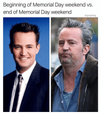 Definitely, Funny, and Memorial Day: Beginning of Memorial Day weekend vs  end of Memorial Day weekend  drgrayfang Definitely stuck in 2nd gear with @drgrayfang 😩