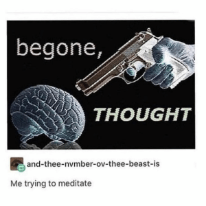 Thought, Beast, and Meditate: begone,  THOUGHT  and-thee-nvmber-ov-thee-beast-is  Me trying to meditate
