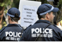 Police, Happy, and Islam: BEHEAD ALL  THOSE  WHO  INSULT THE  PROPHET  POL İCE Australian police, media and politicians happy to ignore the threat from islam, unable to see it, even when written in large letters and placed right in front of them.