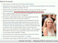 """<p>Her cat was named what&hellip;? <a href=""""http://ift.tt/1wgscB0"""">http://ift.tt/1wgscB0</a></p>: Behind the scenes  . Evanna shares her middle name with Professor Sybill Trelawney.  . Evanna also has the same surname as Aidan Lynch, the Seeker who played Quidditch for the lrish National  - Evanna named her cats after Harry Potter characters: she has a cat named Luna and one  - She is a frequent visitor to the Harry Potter fan site MuggleNet, and she once called in to the popular Harry  - Evanna likes making beaded jewelery. She made the radish earrings that  -Evanna Lynch revealed in a special feature on the Half-Blood Prince DVD  Quidditch team. Coincidentally, Evanna is also Irish.  named Crookshanks She also had another cat named Dumbledore, now deceased  Potter podcast, PotterCast and later on MuggleCast  her character wears in Order of the Phoenix herself 10]  with Jany Temime that she also made a bracelet worn by Luna when she  attended the Slug Club Christmas Party. The bracelet depicted a hare, like  her Patronus, but it was believed that it was a reindeer. It took Evanna about  45 minutes to make it, and she stated it wasn't, nor did it need to be,  perfect, since Luna was like that. Jany jokingly asked her, """"Are you going to  tell me that if it was not for Luna you would have made it better than that?""""  to which Evanna simply responded, """"Perhaps.  . She attended both the London and Irish premières of Order of the Phoenix.  - She was given a hare and moon pendant by J. K. Rowling  - At the James Joyce Awards in Dublin when asked, """"Do you think about the  Like this? You'll hate  MIGGLENET MEMES.COM <p>Her cat was named what&hellip;? <a href=""""http://ift.tt/1wgscB0"""">http://ift.tt/1wgscB0</a></p>"""