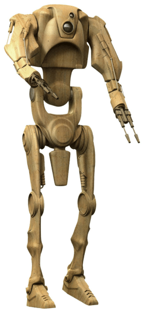 Behold: The E4 Baron Droid, a Nute Gunray approved improvement of the standard battle droids and the only robot in the Trade Federation army that has a visible dong.: Behold: The E4 Baron Droid, a Nute Gunray approved improvement of the standard battle droids and the only robot in the Trade Federation army that has a visible dong.