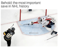 Memes, National Hockey League (NHL), and History: Behold: the most important  save in NHL history  @nhl ref logile Can't really think of any more clutch