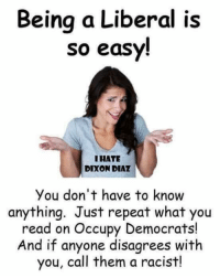 (GC): Beina a Liberal is  so easy!  IHATE  DIXON DIAZ  You don't have to know  anything. Just repeat what you  read on Occupy Democrats!  And if anyone disagrees with  you, call them a racist! (GC)
