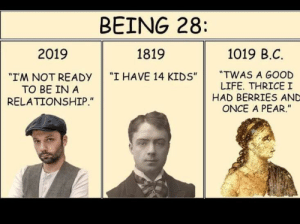 "Progress: BEING 28  1019 B.C  2019  1819  ""TWAS A GOOD  LIFE. THRICEI  HAD BERRIES AND  ONCE A PEAR.""  ""I HAVE 14 KIDS""  ""IM NOT READY  TO BE IN A  RELATIONSHIP."" Progress"