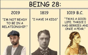"not ready: BEING 28:  2019  1819  1019 B.C.  ""I HAVE 14 KIDS""  ""TWAS A GOOD  LIFE. THRICE I  HAD BERRIES AND  ONCE A PEAR.""  ""I'M NOT READY  TO BE IN A  RELATIONSHIP."""