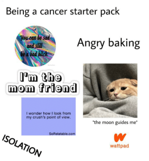 "Cancer's starter pack: Being a cancer starter pack  You can be sad  and still  be a bad bitch.  Angry baking  I'm the  mom friend  I wonder how I look from  my crush's point of view.  ""the moon guides me""  SoRelatable.com  ISOLATION  wattpad Cancer's starter pack"