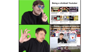 Thank you Mr Beast, very cool!: Being a clickbait Youtuber  REPLPIMG  6:23  $100 GIVEAWAY PRANK (NO  WEAPONS INVOLVED)  GIVING AWAY $100 ITUNES  GIFT CARDS  Replying To Comments Like  A Retard  4.7K views 2 years ago  S.6K views 2 years ago  291K views 2 years ago  O UPLOAD?  FOR  LIKES?  FUN MIEWS  Why Do Youtubers Ask Fo Making My Background MoreDoing Youtube For Fun Or  Likes?  Epic  4.5K views 2 years ago  8K views 2 years ago  4.4K views 2 years ago  Doing your part to save an  et icor and ulti  imatety  SUR  UB TO  Mr Beasts hosts Meme Review? (he maybe does) Thank you Mr Beast, very cool!
