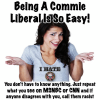 So easy 🤣: Being A Commie  LiberallsSo Easy!  IHATE  You don't have to know anything. Just repeat  what you see on MSNBC or CNN and if  anyone disagrees with you, call them racist So easy 🤣