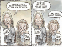 Thinking Like a Feminist (Actual title from /r/conservative): BEING A FEMINIST  MEANS TRUSTING WOMEN  TO THINK FOR THEMSELVES...  GLORIA  MADELEINE  AND IF YOU  DON'T THINK  LIKE US, YOU'RE  A STUPID BIMBO...  GLORIA  AND YOU'RE  GOING TO HELL.  MADELEINE Thinking Like a Feminist (Actual title from /r/conservative)