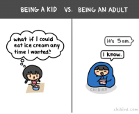 Heh. I guess growing up can have its benefits. :P  http://chibird.com/post/151123777954: BEING A KID VS. BEING AN ADULT  what if I could  it's 5am.  eat ice cream any  time wanted?  I know  CHIBIRD  chi bird, com Heh. I guess growing up can have its benefits. :P  http://chibird.com/post/151123777954