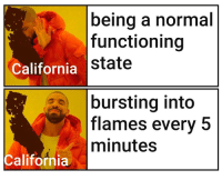 California, Normal, and Flames: being a normal  functioning  state  California  bursting into  flames every 5  minutes  California Yeet