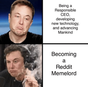 Dank, Memes, and Reddit: Being a  Responsible  CEO  developing  new technology,  and advancing  Mankind  Becoming  Reddit  Memelord U made the correct choice, Elon. Welcome. by EliotHudson MORE MEMES