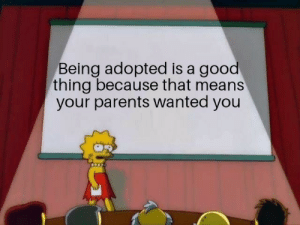 Parents, Good, and Wanted: Being adopted is a good  thing because that means  your parents wanted you