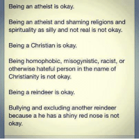 Misogynistically: Being an atheist is okay.  Being an atheist and shaming religions and  spirituality as silly and not real is not okay.  Being a Christian is okay.  Being homophobic, misogynistic, racist, or  otherwise hateful person in the name of  Christianity is not okay.  Being a reindeer is okay  Bullying and excluding another reindeer  because a he has a shiny red nose is not  okay.