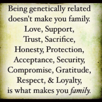 Family Meme: Being genetically related  doesn't make you family.  Love, Support,  Trust, Sacrifice,  Honesty, Protection,  Acceptance, Security,  Compromise, Gratitude,  Respect, & Loyalty,  is what makes you family