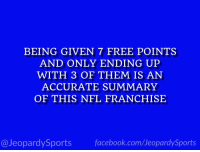 """""""Who are: the Chicago Bears?"""" #JeopardySports #PITvsCHI https://t.co/4SpKF2cKEb: BEING GIVEN 7 FREE POINTS  AND ONLY ENDING UP  WITH 3 OF THEM IS AN  ACCURATE SUMMARY  OF THIS NFL FRANCHISE  @JeopardySportsfacebook.com/JeopardySports """"Who are: the Chicago Bears?"""" #JeopardySports #PITvsCHI https://t.co/4SpKF2cKEb"""