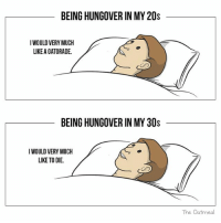 Gatorade, Memes, and 🤖: BEING HUNGOVER IN MY 20s  IWOULD VERY MUCH  LIKE A GATORADE.  BEING HUNGOVER IN MY 30s  IWOULD VERY MUCH  LIKE TO DIE.  The Oatmeal 🥃
