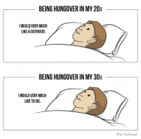 Gatorade, Dank Memes, and Oatmeal: BEING HUNGOVER IN MY 20s  IWOULD VERY MUCH  LIKE A GATORADE.  BEING HUNGOVER IN MY 30s  IWOULD VERY MUCH  LIKE TO DIE.  The Oatmeal (@theoatmeal)