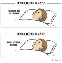 Funny, Gatorade, and Oatmeal: BEING HUNGOVER IN MY 20s  WOULD VERY MUCH  LIKE A GATORADE.  BEING HUNGOVER IN MY 30s  IWOULD VERY MUCH  LIKE TO DIE.  The Oatmeal Why do I keep doing this to myself 😐 via @theoatmeal