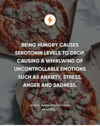 Hungry, Memes, and Anxiety: BEING HUNGRY CAUSES  SEROTONIN LEVELS TO DROP  CAUSING A WHIRLWIND OF  UNCONTROLLABLE EMOTIONS  SUCH AS ANXIETY, STRESS  ANGER AND SADNESS.  SOURCE: HUFFINGTONPOST.CO.UK  @FACTBOLT 😧😩😡😢 — Source: (Huffington Post) http:-bit.ly-hungryfeels