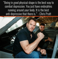 "Truth 💪🏼💯 . @DOYOUEVEN 👈🏼 FREE SHIPPING ON ALL orders 🚚🌍 just tap the link in our BIO ✔️: ""Being in good physical shape is the best way to  combat depression. You just have endorphins  running around your body. It is the best  anti-depressive that there is. Chris Pratt Truth 💪🏼💯 . @DOYOUEVEN 👈🏼 FREE SHIPPING ON ALL orders 🚚🌍 just tap the link in our BIO ✔️"