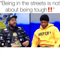 "Friends, Memes, and Snitch: ""Being in the streets is not  about being tough!!  HOLYCITY  ORI  ALS @wayno119 says if you're in the streets then you HAVE to follow the street codes NO MATTER WHAT‼️ is it ever okay to snitch⁉️ ( via @everydaystruggleshow ) Follow @bars for more ➡️ DM 5 FRIENDS"