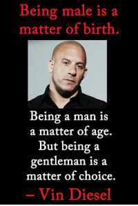 Memes, Vin Diesel, and Diesel: Being male is a  matter of birth  Being a man is  a matter of age.  But being a  gentleman is a  matter of choice.  Vin Diesel <3