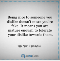 """Fake, Mean, and Nice: Being nice to someone you  dislike doesn't mean you're  fake. It means you are  mature enough to tolerate  your dislike towards them  Type """"yes"""" if you agree!  RuotesGate"""