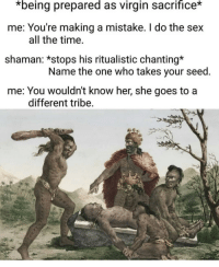 Memes, Sex, and Virgin: *being  prepared  as virgin  sacrifice*  me: You're making a mistake. I do the sex  shaman: *stops his ritualistic chanting*  me: You wouldn't know her, she goes to a  all the time.  Name the one who takes your seed  different tribe That one nigga with the imaginary girl friend