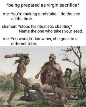 Chanting: *being prepared as virgin sacrifice*  me: You're making a mistake. I do the sex  all the time.  shaman: *stops his ritualistic chanting*  Name the one who takes your seed  me: You wouldn't know her, she goes to a  different tribe.